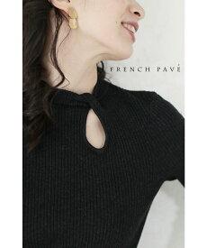 【再入荷♪9月6日12時&22時より】(ブラック)「FRENCH PAVE」ティアドロップホールのアクセントニットトップス