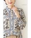(M~L対応)【再入荷♪7月28日12時&22時より】(ベージュ)「cawaii」大人の女性を品格柄が美しく見せるブラウストッ…