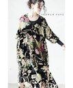 (M~2L対応)【再入荷♪3月11日12時&22時より】「FRENCH PAVE」キャンバスに描いた鮮やかな花のベロアワンピース