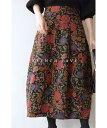 (L~3L対応)【再入荷♪9月25日12時&20時より】「FRENCH PAVE」ノスタルジックを身に纏う。花柄コクーンスカート