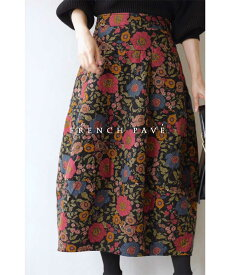 【再入荷♪10月16日12時&22時より】「frenchpave」ノスタルジックを身に纏う。花柄コクーンスカート