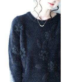 (S〜L対応) 【再入荷♪1月5日12時&22時より】(ブラック)「FRENCH PAVE」柔らかな風合い。立体花咲くニットトップス