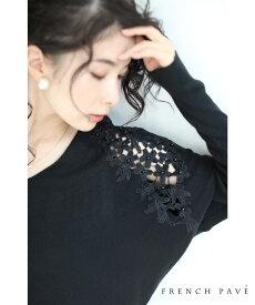 【再入荷♪1月24日12時&22時より】(M~3L対応)(ブラック)「FRENCHPAVE オリジナル」(黒)小花咲く肩レースのドルマンニットトップス