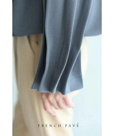 □□S〜M/L〜2L対応【再入荷♪2月19日12時&22時より】「FRENCH PAVE」たっぷりバルーン裾のタックスリーブトップス