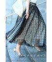 ☆☆【再入荷♪1/22 12時&20時】格子チェックのふわり重なるチュールミディアムスカート黒ステンドガラススカート