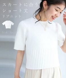 (ホワイト)(S~M/L~2L対応)◇◇スカートに合う ショート丈ニットトップス