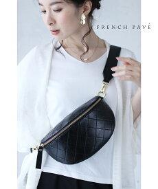 【再入荷♪9月27日12時&22時より】(ブラック)「frenchpave」2wayで楽しむ高級感あるダイヤ柄ショルダーバッグ鞄