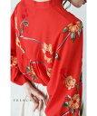 (S〜L対応)【再入荷♪7月3日12時&20時より】「FRENCH PAVE」朱に咲く枝花刺繍のマオカラーブラウストップス