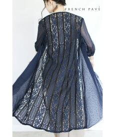 (M〜L対応) 【再入荷♪9月29日12時&22時より】「frenchpave」風に流れる美ライン。見惚れるバックレースの羽織り