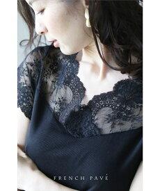 (S〜L対応) 【再入荷♪2月19日12時&22時より】「FRENCH PAVE」インナーにも最適。肌に添うデコルテレーストップスTシャツ