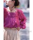 【大特価:アウトレット:返品・交換不可】「FRENCH PAVE」美しいスクエアネック。優雅な気分を纏うカラーブラウストッ…