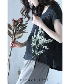 ◇◇□□S〜M/L〜2L【再入荷♪6月19日12時&20時より】「FRENCH PAVE」可憐に咲いた白花刺繍トップスTシャツ