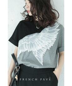 S〜L/2L〜3L【再入荷♪8月4日12時&22時より】「french pave」天使の羽根レースTシャツトップス