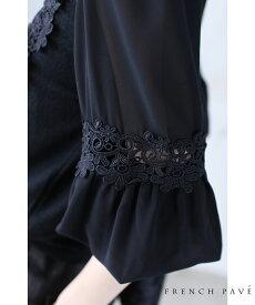 (M~2L対応)【再入荷♪3月25日12時&22時より】(ブラック)「FRENCH PAVE」フェミニンな花レースの装い。華やかなポワン袖トップス