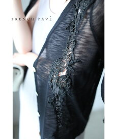 【再入荷♪9月18日12時&22時より】「frenchpave」(黒)花レースライン浮き出るカーディガン羽織り