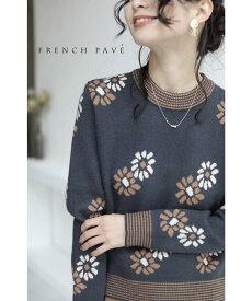 【再入荷♪10月20日12時&22時より】「frenchpave」可愛いく華やぐ花柄ニットトップス