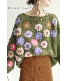 【再入荷♪1月26日12時&22時より】(L〜3L対応)「FRENCH PAVE」アシンメトリーに咲く花刺繍のざっくりニットトップス
