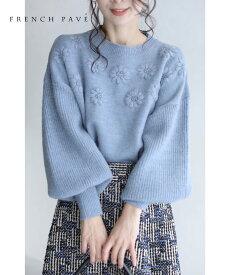 【再入荷♪10/11 12時&20時】浮かぶ花刺繍のポワン袖ニットトップス