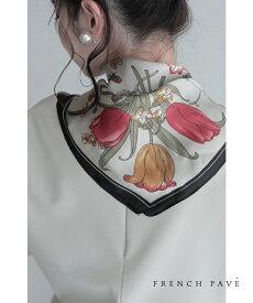 (ベージュ)「FRENCH PAVE」華麗なる饗宴。植物と昆虫の艶やかスカーフ2月18日22時販売新作