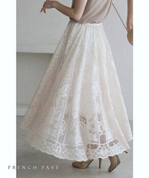 ▼▼(S~L対応)(ベージュ)「FRENCHPAVE」ラクに履けて美しい。ゴージャスレースのミディアムスカート2月27日22時販売新作