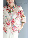 (M~3L対応)(ピンク)「FRENCH PAVE」優しく咲いた水彩花画の涼やかシャツトップス5月26日22時販売新作