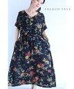 (M~3L対応)【再入荷♪8月2日12時&20時より】「FRENCH PAVE」(黒)黒に浮かぶ花と蝶のコットンリネンロングワンピース
