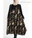(S~L対応)(黒)ふわりと広がる裾。花絵ミディアムワンピース