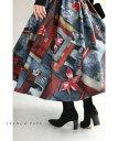 (12/1〜12/30前後の出荷予定)【予約♪11/25 12時&20時】心惹かれる紅い花。アーティスティックなミディアムスカート