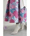 【再入荷♪1/6 12時&20時】桃色の花世界広がるジャガードミディアムスカート