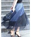 ☆☆【再入荷♪5/16 12時&20時】4色カラーが織りなすふんわりチュールミディアムスカート