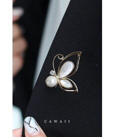 パールを抱く蝶々ピンブローチ