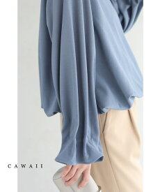 ◇◇□□(S〜M/L〜2L対応)流線タック袖のポワン裾プルオーバートップス