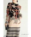 【再入荷♪10/22 12時&20時】(S~M対応)優雅なスカーフ柄ニットミニワンピース