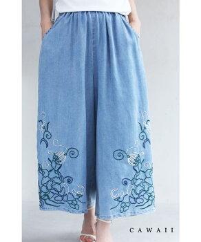 ▼▼(S~3L対応)ラクに涼やかに履ける。刺繍画デニム風ワイドパンツ