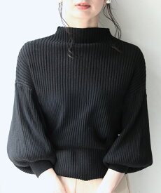 □□S〜L/2L〜3L 対応(ブラック)「FRENCHPAVE」■■袖ポワンとオフネックのニットトップス(メール便不可)ポワン袖