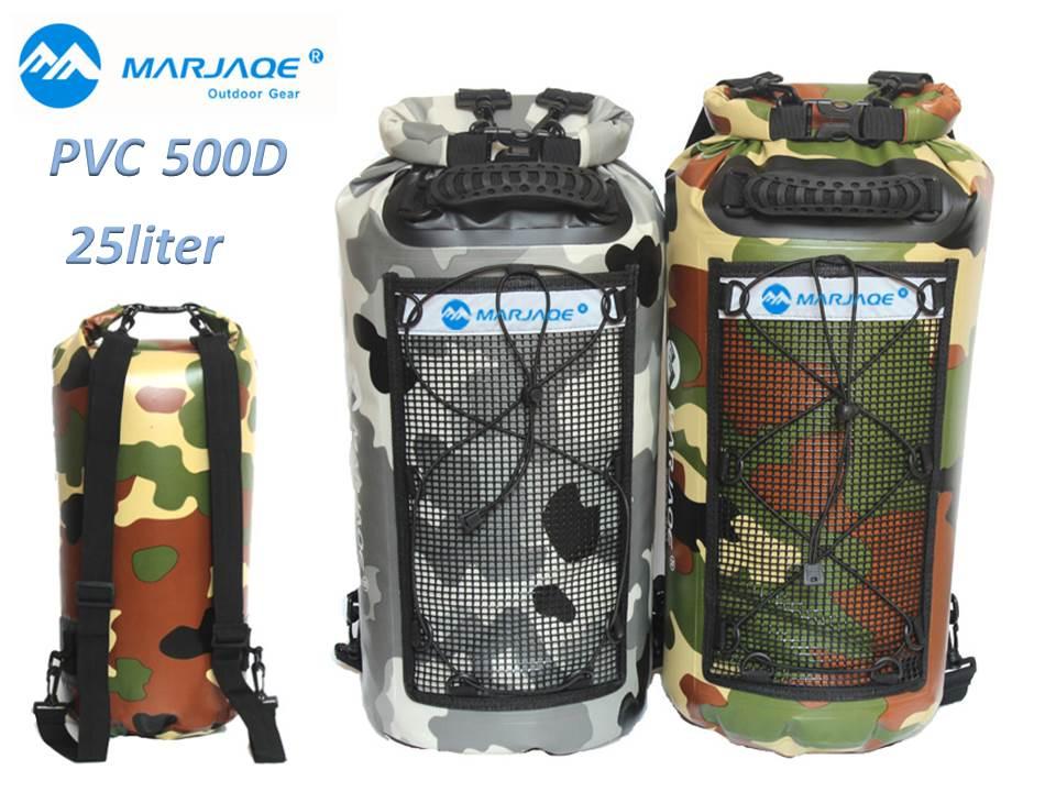 MARJAQE 防水リュック 防水バッグ 25L ドライバッグ 3WAY 500D ウォータープルーフ ドライチューブ