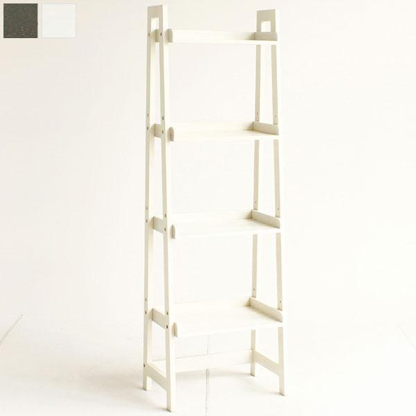 【送料無料】4段ラック (WH/DGY) 可愛いホワイトと、シックなグレイの2色 デスクの横に、本棚替わりに、飾り棚に…アイデア次第で使い方多様 斜めのラインがおしゃれ ラダーラック/ラック/ラダーシェルフ/棚/オープンラック ホワイト家具・北欧・シンプル・カフェ風