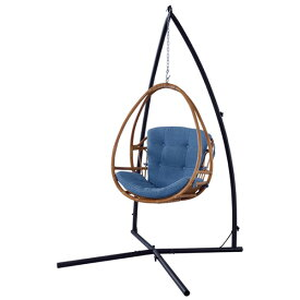 【送料無料】 ハンギングチェア ラタン×デニム風 おしゃれなハンキングチェア ハンモックチェア 自立式 庭やテラス、バルコニーに◎ チェア チェアー 椅子 いす イス ゆらゆら心地良い揺れでリラックス 揺れる アジアン/西海岸/サン