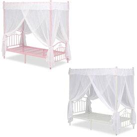 【送料無料】 天蓋付きベッド (ピンク/ホワイト) 天蓋とカーテン付き シングルサイズ お姫様気分を味わえるプリンセスベッド 姫系/プリンセス/ガーリー/ロマンチック 高さはやや高めの201cm