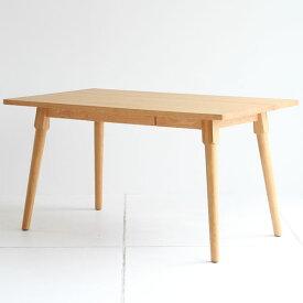 【送料無料】135 ダイニングテーブル 引き出し付き 食卓テーブル 4人用 幅135cm 奥行き80cm 高さ72cm オーク材 無垢 ウレタン塗装 作業テーブルやミーティングテーブルにも◎ ナチュラル/シンプル/北欧/カントリー/フレンチ