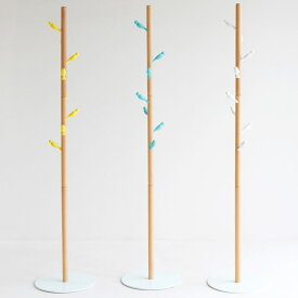 【送料無料】コートハンガー ホワイト/ブルー/イエロー コートハンガー ポールハンガー コートツリー フック シンプル/ナチュラル/北欧/ポップ かわいい鳥モチーフ 木製 白 青 黄 幅38.5cm 奥行き38.5cm 高さ178cm