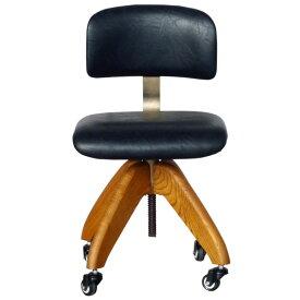 【送料無料】オフィスチェア PU×ブラウンアッシュがかっこいいデザインチェアー 回転 昇降 キャスター付 デスクチェア 椅子 ワークチェア レトロ/ミッドセンチュリー/男前/シンプル 幅54cm 奥行き54cm 高さ71〜93cm 座面高45〜61cm