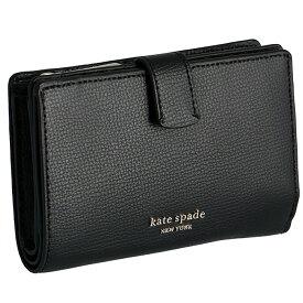 ケイトスペード KATE SPADE 財布 二つ折り ミニ財布 シルビア SYLVIA ミディアム バイフォールド ウォレット ブラック PWRU7230 0018 001