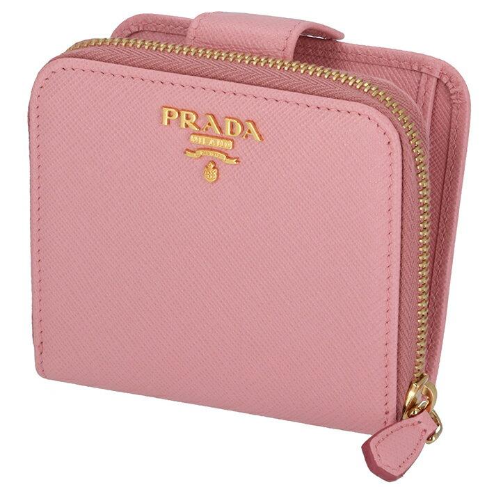 プラダ PRADA サフィアーノ 財布 レディース ミニ財布 二つ折り財布 ピンク系 1ML522 QWA 442