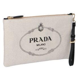 プラダ PRADA 2020年春夏新作 ロゴ キャンバス ポーチ クラッチ ベージュ×ブラック 1NH018 ZPX I55