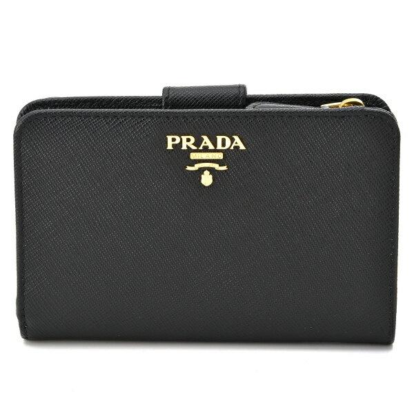プラダ PRADA 財布 型押しカーフスキン 二つ折り財布 1ML225 QWA 002