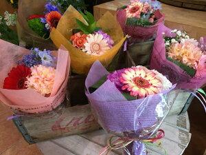 ミニブーケ SSサイズ 全ておまかせの花材、花色で作成だからこの価格♪花束 ブーケ プチ花束ピアノ バレエ 発表会 お祝い ホワイトデー 入園式 入学式などにギフト デザイナー おまかせ花