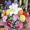 おまかせフラワーアレンジメント今の季節で1番輝いている生花でお作り致します(ユリ入り)ご希望のメッセージをカードに作成フラワーギフト発表会記念日楽ギフ_包装楽ギフ_メッセ入力