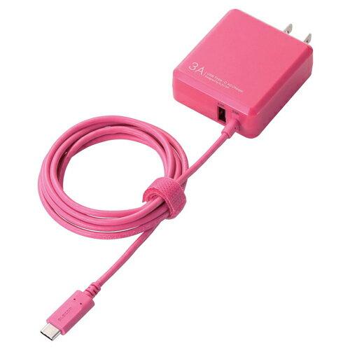 エレコム MPA-ACCFW154PN(ピンク) AC充電器 Type-Cケーブル一体型+USB 3A
