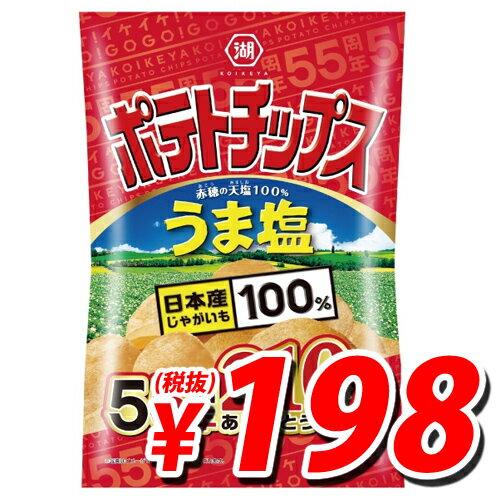 【賞味期限:18.04.14】湖池屋 ポテトチップス うま塩 55周年ありがとうサイズ 210g